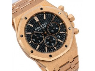AUDEMARS PIGUET ROYAL OAK CHRONOGRAPH 41MM BLACK DIAL WITH ROSE GOLD BRACELET